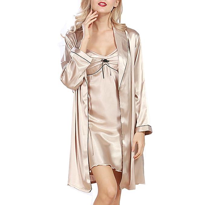 Oudan Pijamas Lujoso Mujer de Verano, Ropa de Dormir Señora con Bata, Imitación de