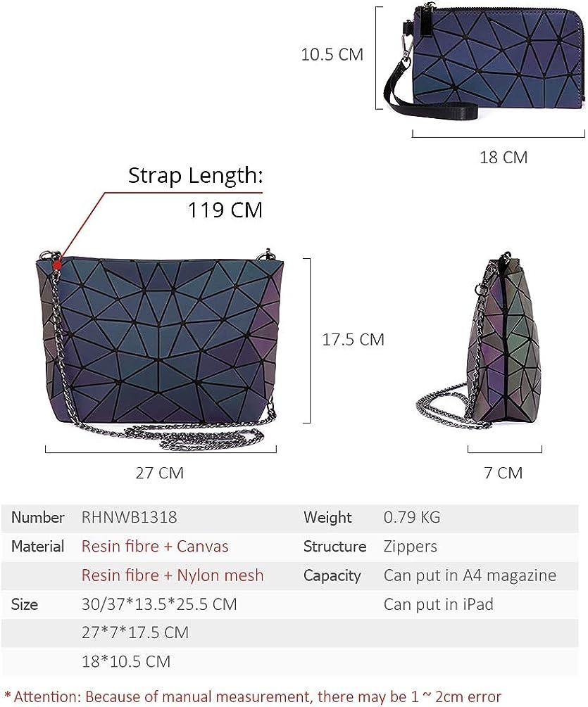 A-Gavvzq Frauen Handtasche Luxus Umhängetasche Set Folding Totes Umhängetasche Weibliche Geldbörse Und Brieftasche Für Damen Luminous Geometric Wallet