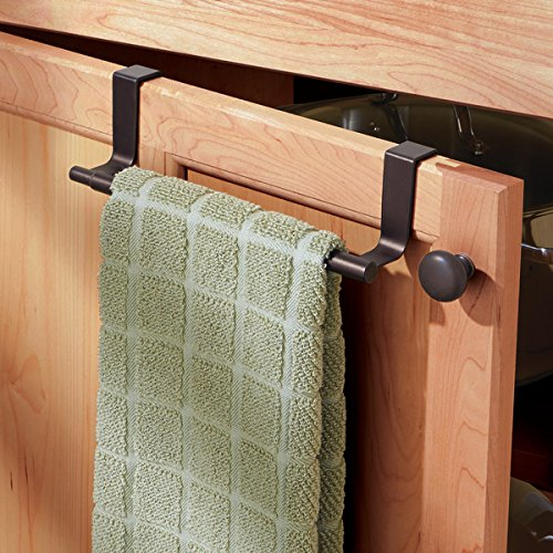 mDesign Decorative Kitchen Over Cabinet Expandable Towel Bars – Hang on Inside or Outside of Doors, for Hand, Dish, and Tea Towels - Pack of 2, Bronze Finish