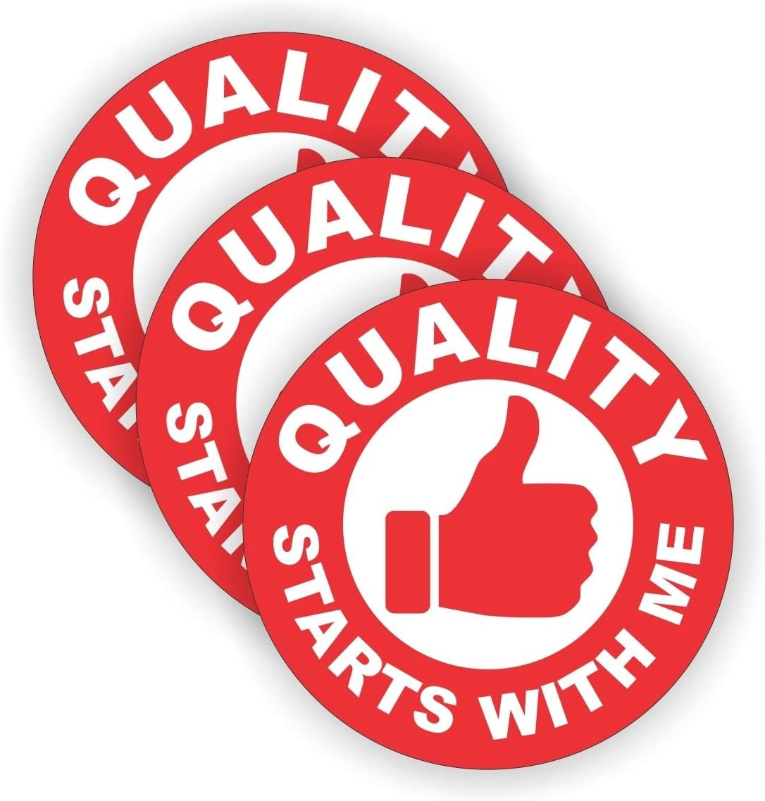 """(3 PACK) Quality Starts With Me circle vinyl Hard Hat Helmet Decal by StickerDad - size: 2"""" ROUND color: RED/WHITE - Hard Hat, Helmet, Windows, Walls, Bumpers, Laptop, Lockers, etc."""