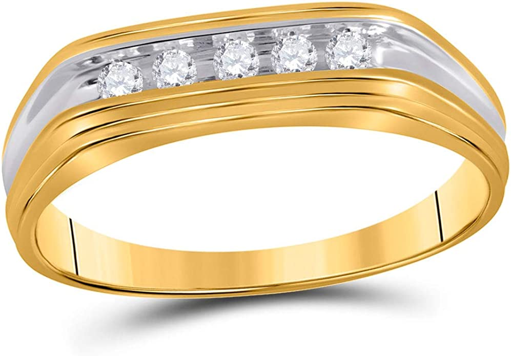 10kt Yellow Gold Mens Round Diamond Two-tone Wedding Band Ring 1//8 Cttw