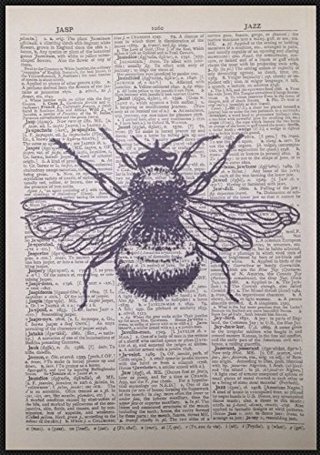 Vintage Bumble Bee Print Antique Dictionary Page Wall Art Picture