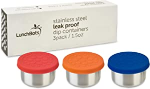 LunchBots 1.5oz Leak Proof Dips Condiment Containers - Set of 3 (1.5 oz) - Spill Proof in Bags and Bento Boxes - Food Grade Stainless Steel and Silicone Lids - Dishwasher Safe - Primary Set
