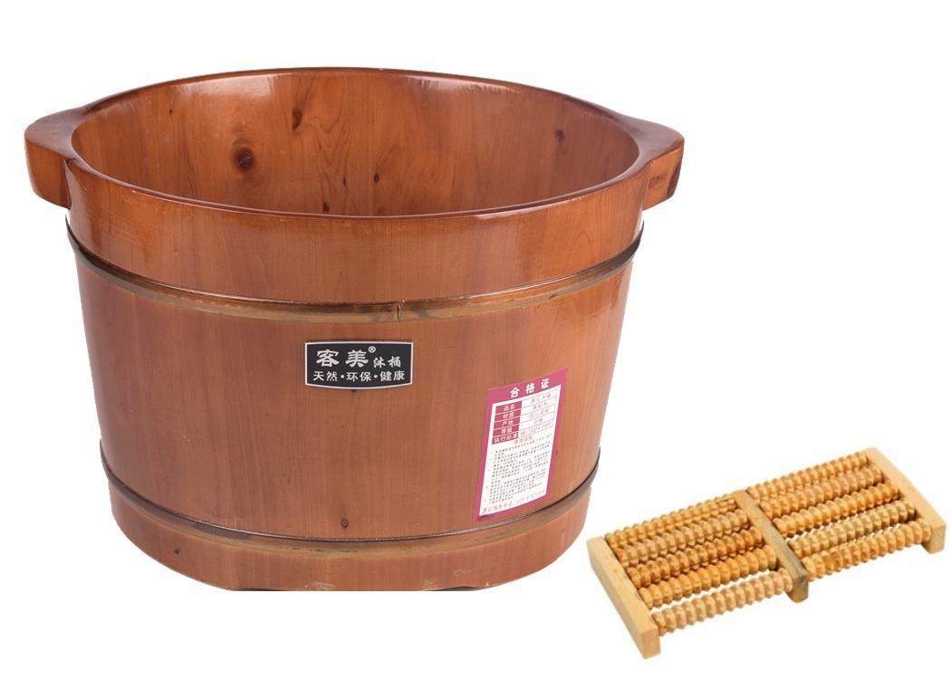 HINEW cedro pie baño spa casa madera barril barril de madera con un rodillo de masaje (altura 0, 26 m)