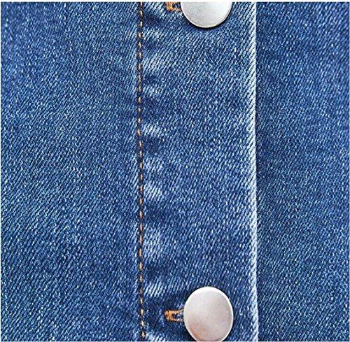 Jaycargogo Bouton Femmes Mincir Coupe Décontractée À Manches Courtes Denim Mini Robe 1