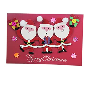 EQLEF® 1 Carte de voeux Bricolage Jouet à la Main Artisanat Matériaux Paquet stéréoscopiques Noël Paquet Enfants Accessoires de sac à main