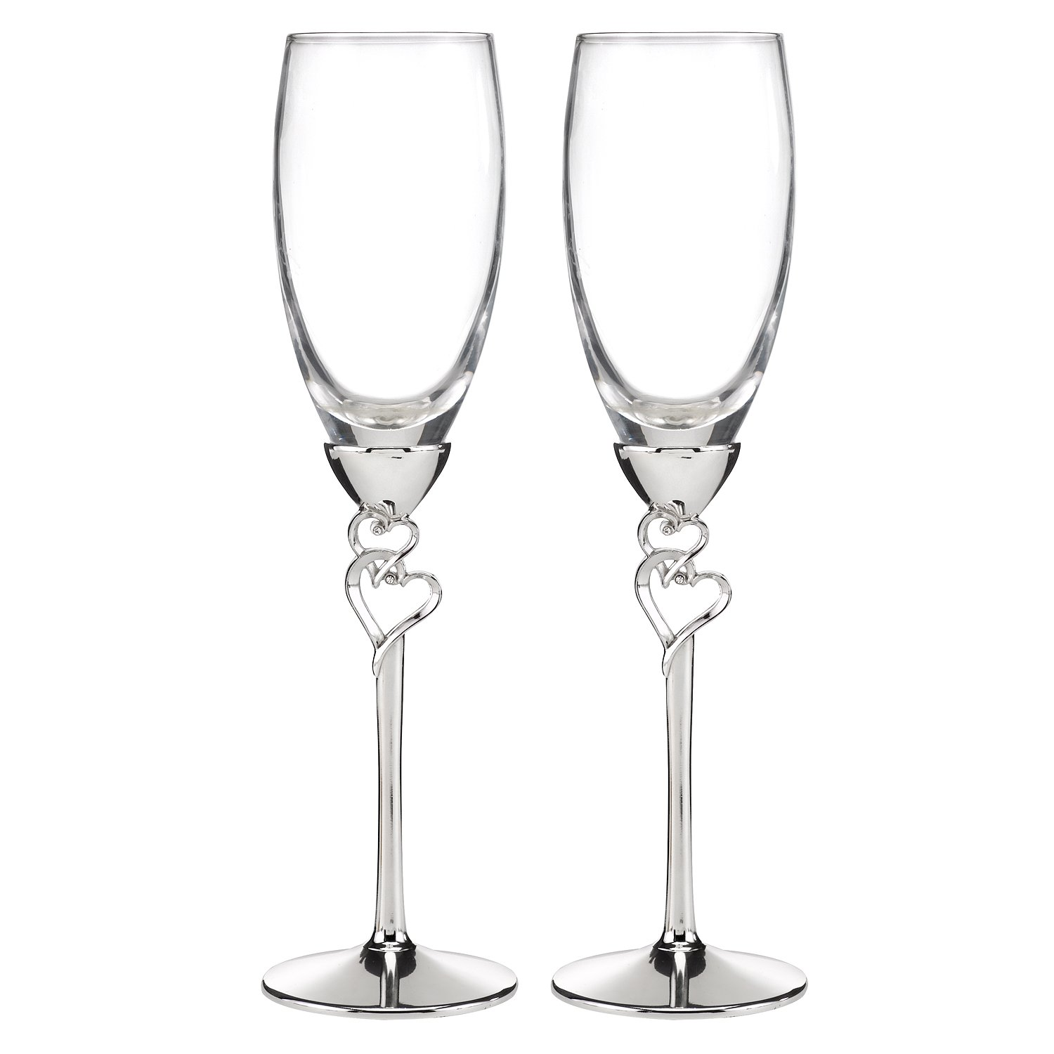 Hortense B. Hewitt Wedding Accessories Entwined Hearts Silver-Plated Champagne Flutes, Set of 2 10011