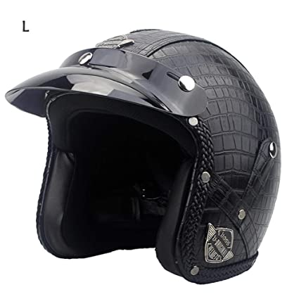 3/4 casco de moto, haodene casco modulable PU Leather Harley Helmet para Motorcycle
