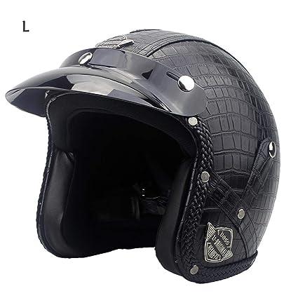 3/4 casco de moto, haodene casco modulable PU Leather Harley Helmet para Motorcycle