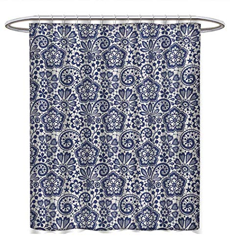 (Anhuthree Victorian Shower Curtains Waterproof Lace Style Pattern with Graphic Needlecraft Motifs Classic Gothic Ornament Bathroom Set with Hooks W69 x L84 Dark Blue Coconut)