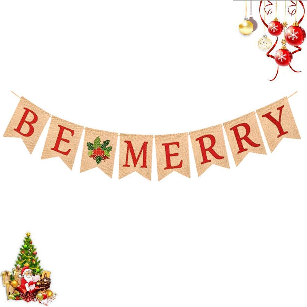 Bozoa クリスマスバナー - BE MERRY バナー 赤文字 天然黄麻布 スワローテイルド ホーリーフルーツリーフ 吊り下げサイン クリスマス ホリデーデコレーション バナー   B07JHQVXY3