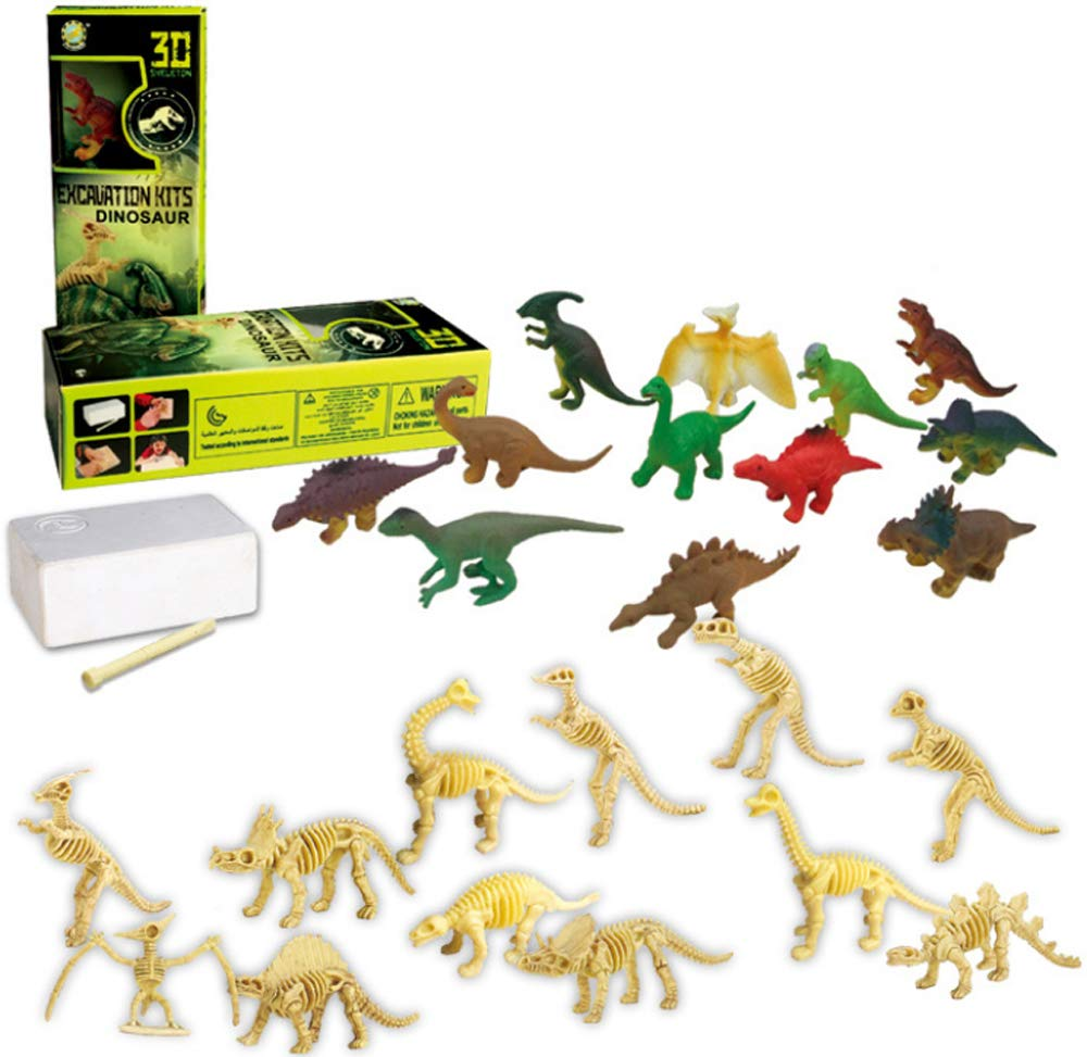 PowerTRC Dinosaurs Assorted Skeleton 3D Dino Fossil Excavation Science Kits for Party Favors Science Gift Set of 12