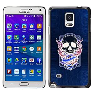 Be Good Phone Accessory // Dura Cáscara cubierta Protectora Caso Carcasa Funda de Protección para Samsung Galaxy Note 4 SM-N910 // Neon Purple Skull Wings Blue Purple