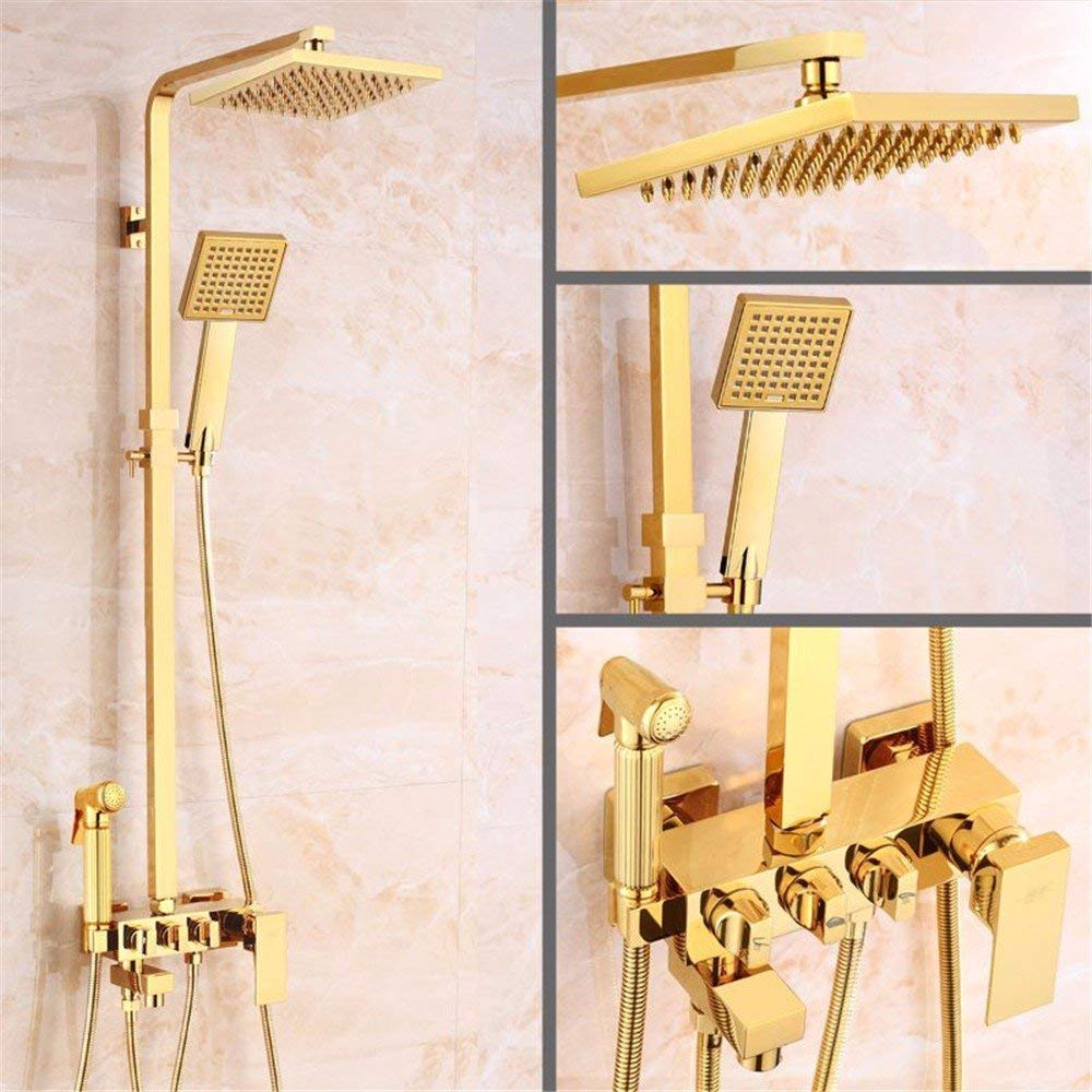 D The rain Shower taps Retro, Articles of Copper, golden Square Bath Rooms, hot Cold and rain of The Head, Bath Rooms Set, B