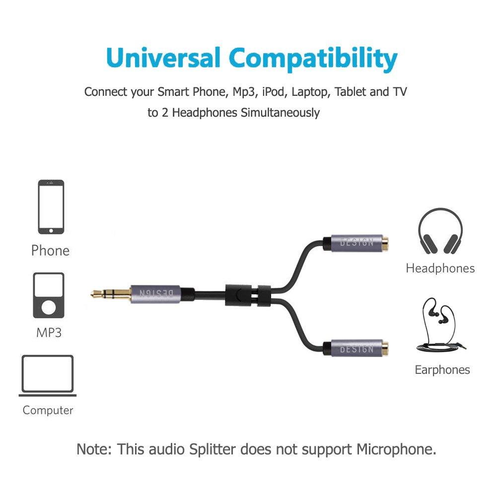 Besign 2-Pack Adaptador Divisor de Auriculares 3.5mm a macho a 2 hembras, cable divisor de audio para 2 auriculares o altavoces, para iPhone, iPod, iPad, ...