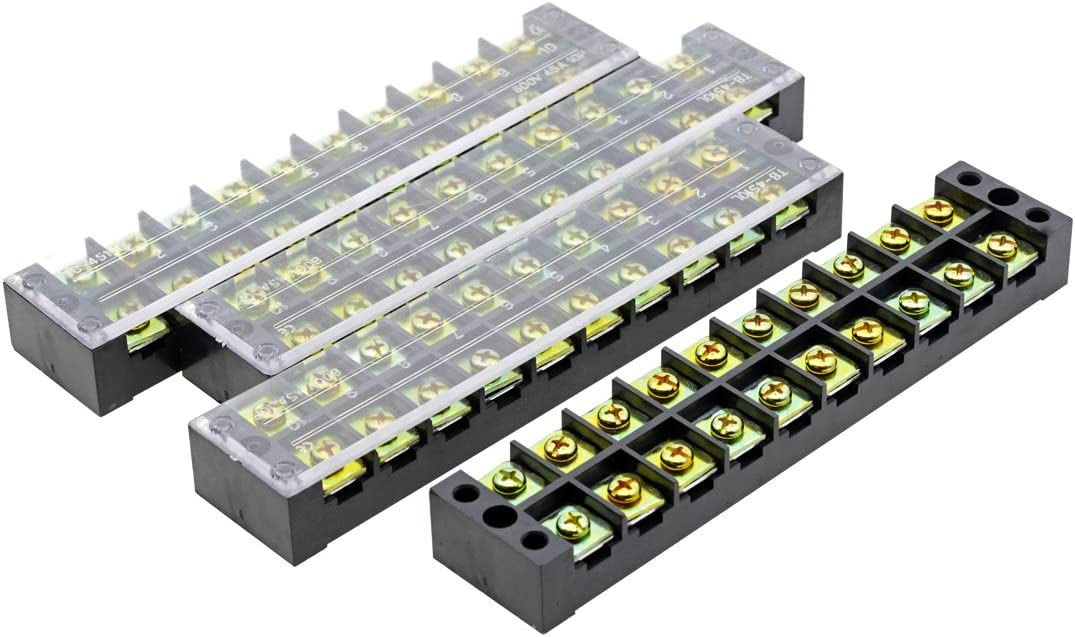 YXQ 600V 45A 10 Position Terminal Block Barrier Strip Dual Row Screw Block Covered with Removable Clear Plastic Insulating Cover 4Pcs