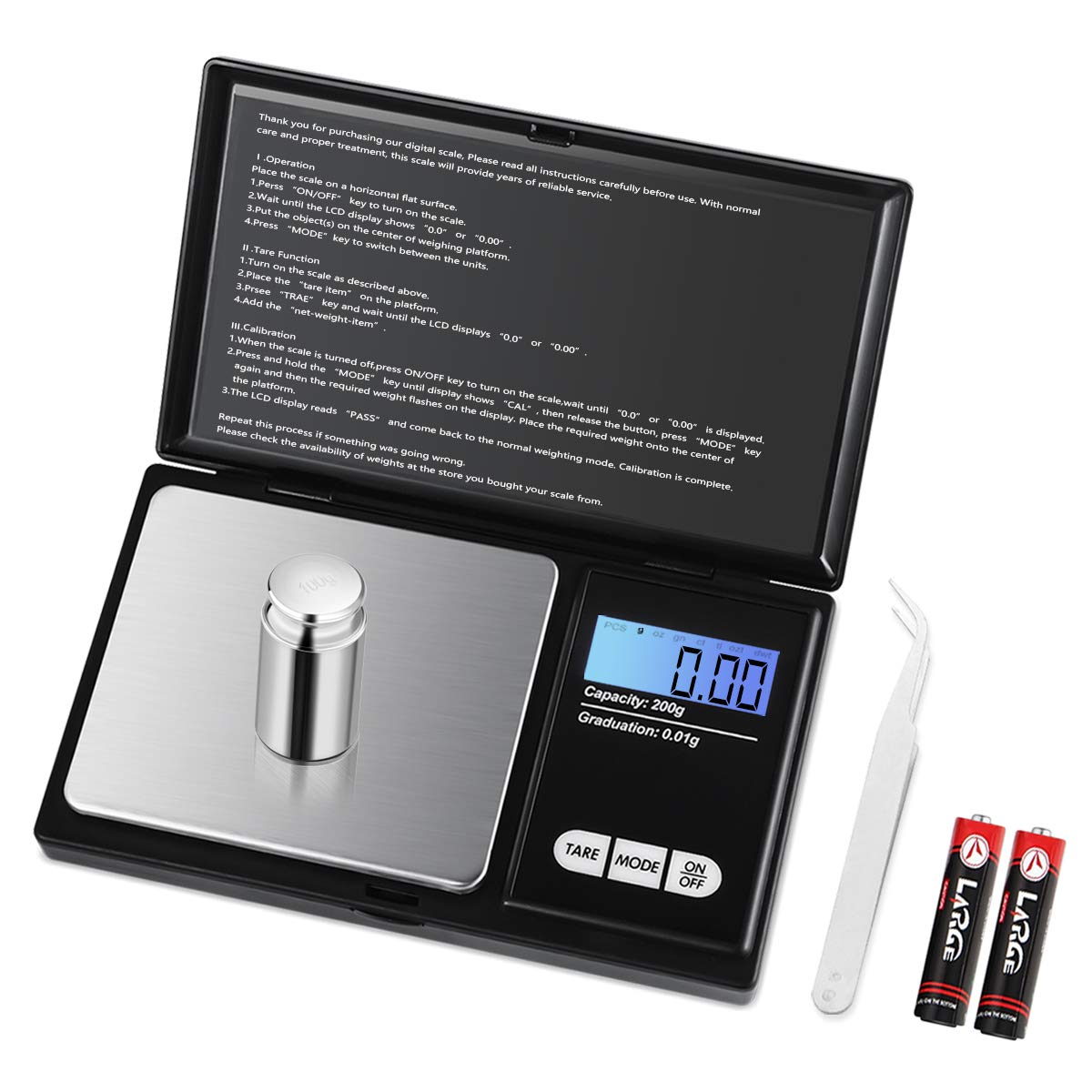 (2019 New) Brifit Digital Mini Scale, 200g /0.01g Pocket Scale, 50g calibration weight, Electronic Smart Scale, LCD Backlit Display, 6 Units, Auto Off, Tare, Stainless Steel by AMIR