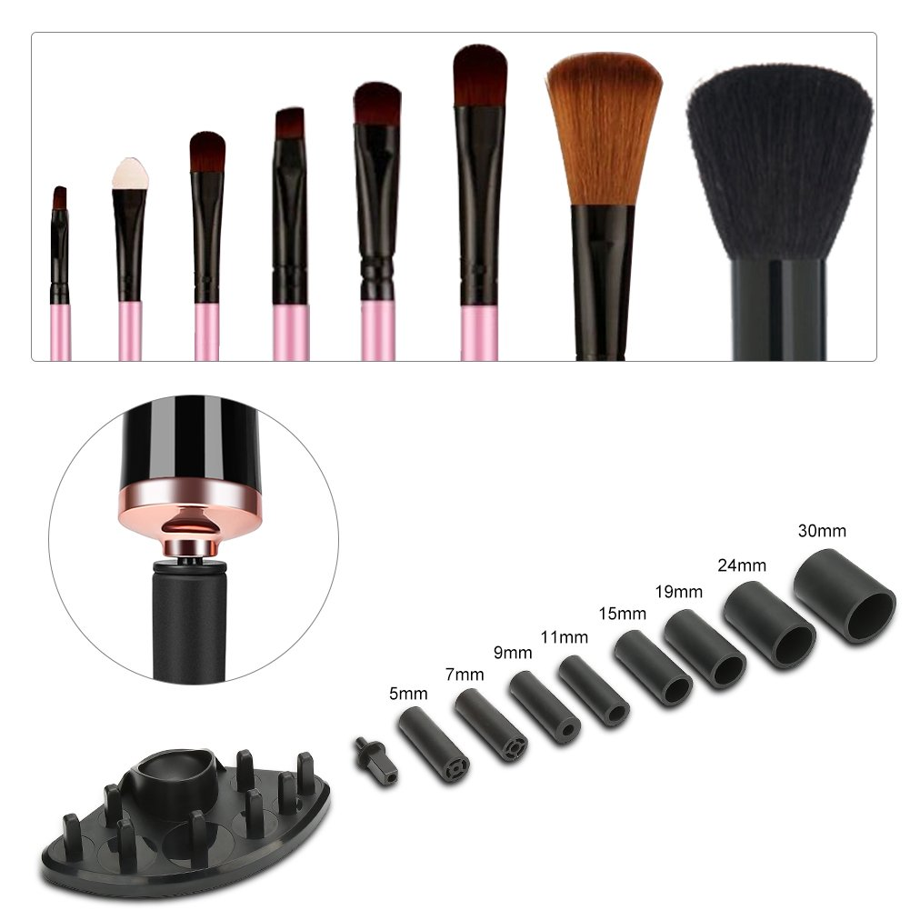 Makeup Brush Cleaner and Dryer Machine Upgraded, Cleans and Dries Makeup Brushes in Seconds 360 Rotation with 8 Rubber Holders, Suit for All size Makeup Brushe