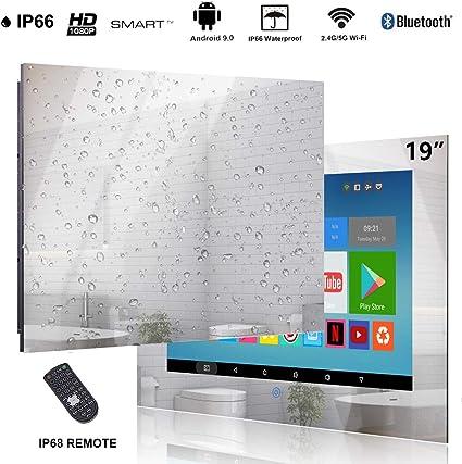 Haocrown Smart TV LED para baño IP66 Sistema Android Resistente al Agua Televisor con Pantalla táctil con Wi-Fi Incorporado (19 Pulgadas, Espejo): Amazon.es: Electrónica
