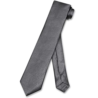 Biagio BOY'S NeckTie Solid CHARCOAL GREY Color Youth Neck Tie