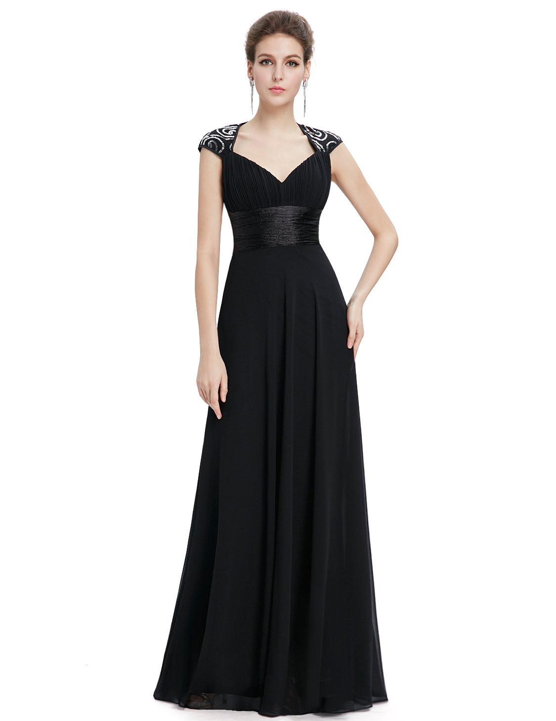 Ever-Pretty Womens Sleeveless V Neck Open Back Long Evening Gown 14 US Black