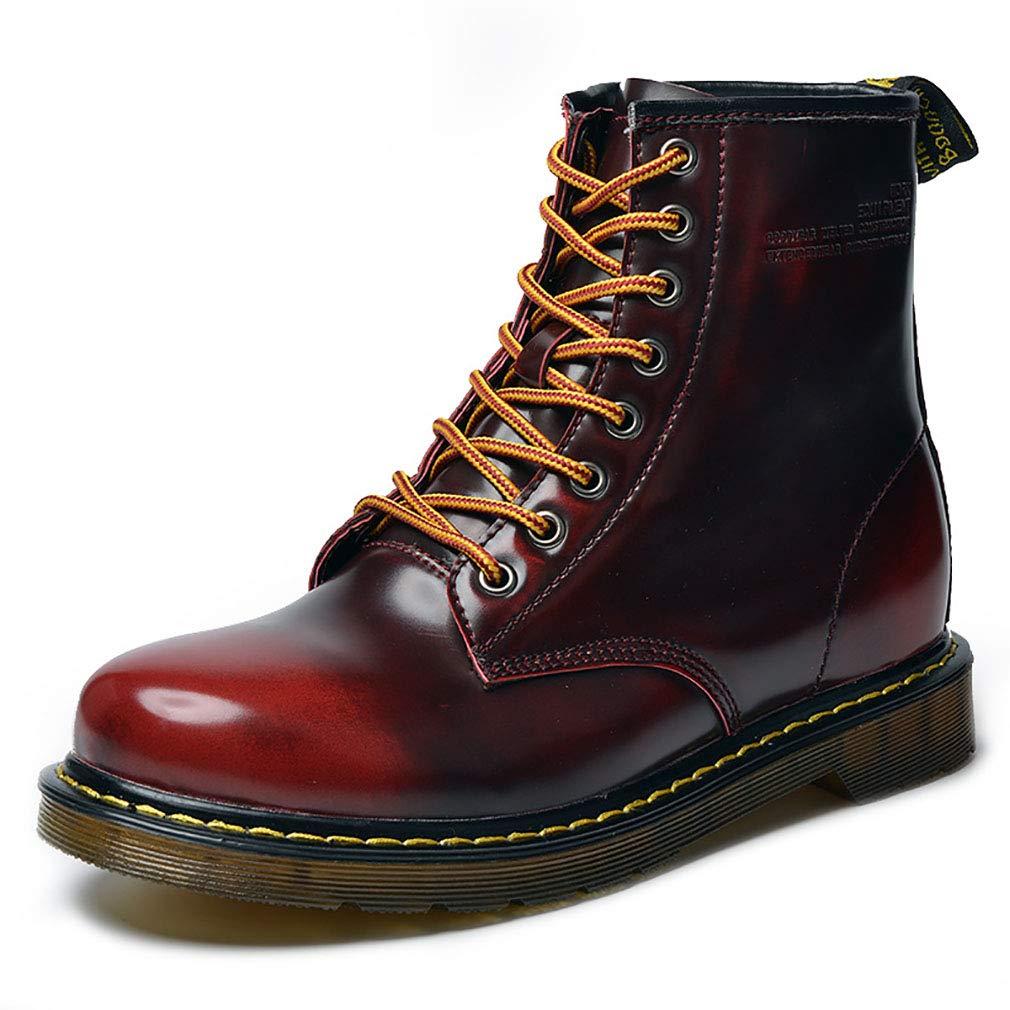 YAN Unisex Martin Stiefel Leder Fall & Winter Paar Stiefelies Männer Frauen Schuhe Wasserdicht Anti-Skid Und Kalte Lässige Tägliche Wanderschuhe,rot,42