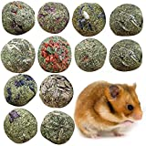 lEIsr00y Hamster Rabbit Chew Snack, 3cm Pet Teeth Grinding Ball Hamster Pig Natural Healthy Snack Grass Chew Toy - Apple Flavor