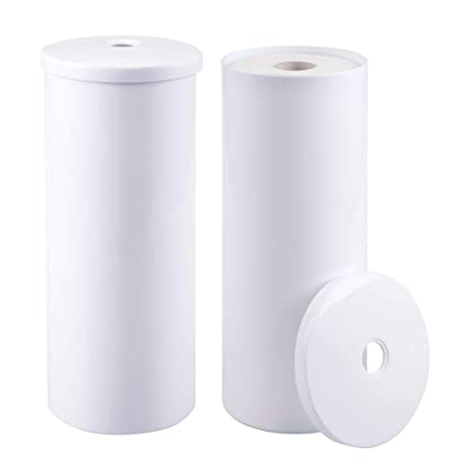 Nice MDesign Modern Plastic Toilet Tissue Paper Roll Holder Canister Stand With  Lid   Vertical Bathroom Storage