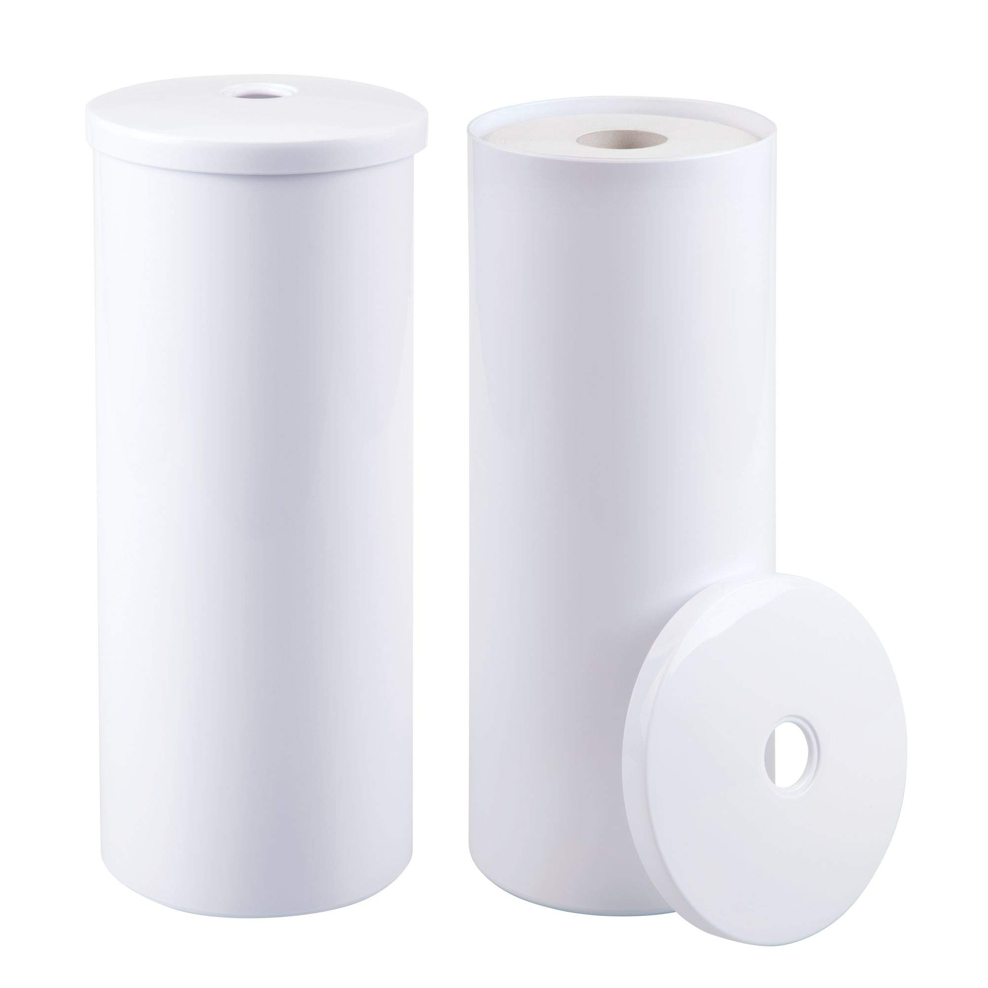 mDesign Modern Plastic Toilet Tissue Paper Roll Holder Canister Stand with Lid - Vertical Bathroom Storage for 3 Rolls of Toilet Tissue - Holds Large Mega Rolls - 2 Pack - White