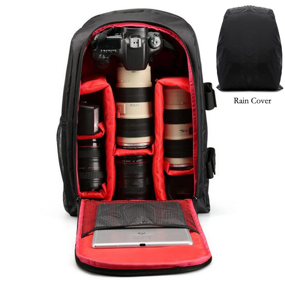 Wishshopping Camera Backpacks Camera Bags Camera Storage Backbags for DSLR SLR Cameras , Laptops ,Tripod and Photograph Accessories with Rain Cover (Red Color)