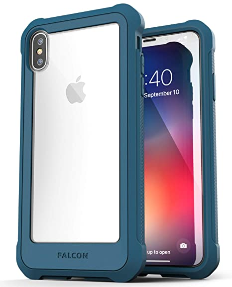 reputable site fd5a0 673a1 Encased Clear iPhone Xs Max Case w/Tempered Glass Screen Protector -  (Falcon Armor) Ultra Rugged Transparent Back Cover w/Full Body Bumper  Protection ...