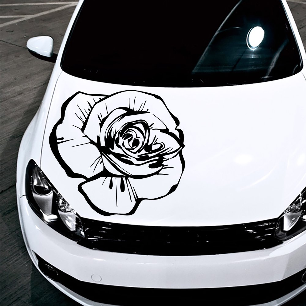 Amazon com car decals hood decal vinyl sticker rose flower floral auto decor graphics os160 automotive
