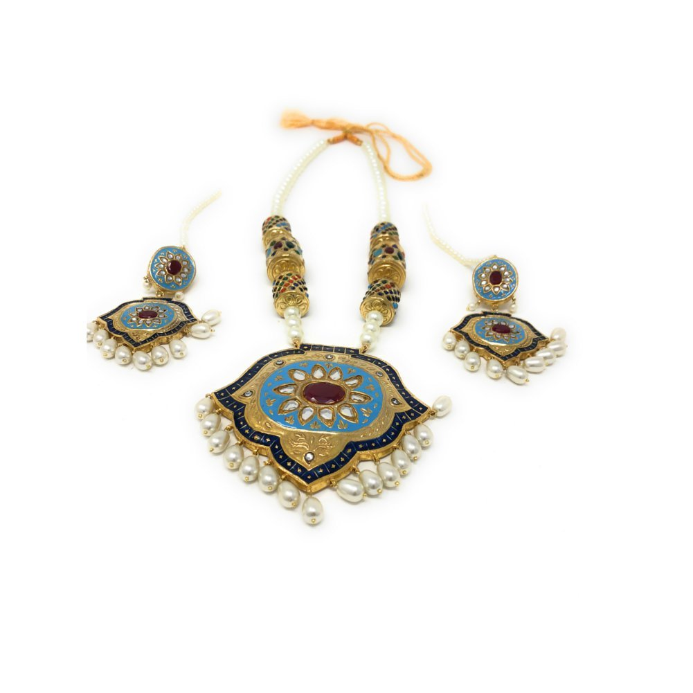 Pakistani Handcrafted Ethnic Bridal Gold Plated Long Pendant Necklace with Dangle Earrings in Ruby and Blue Enamel