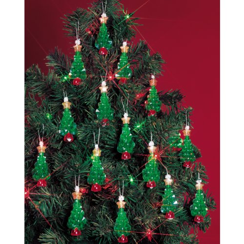 Beadery Holiday Beaded Ornament Kit 225Inch Mini Trees Makes 24 Ornaments