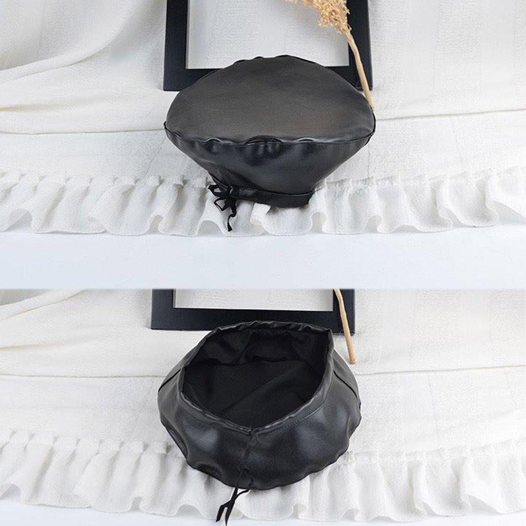 Noir SimpleLife Chapeau de b/éret en Cuir Femme Plate Bonnet Boina Feminina os Peintre de Gorras