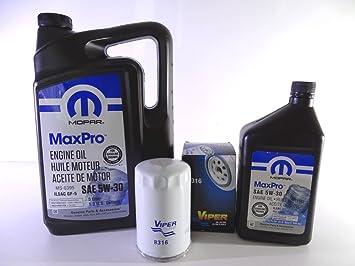 Filtro de aceite 8316 VIPER & 6L 5W-30 MOPAR Aceite de motor