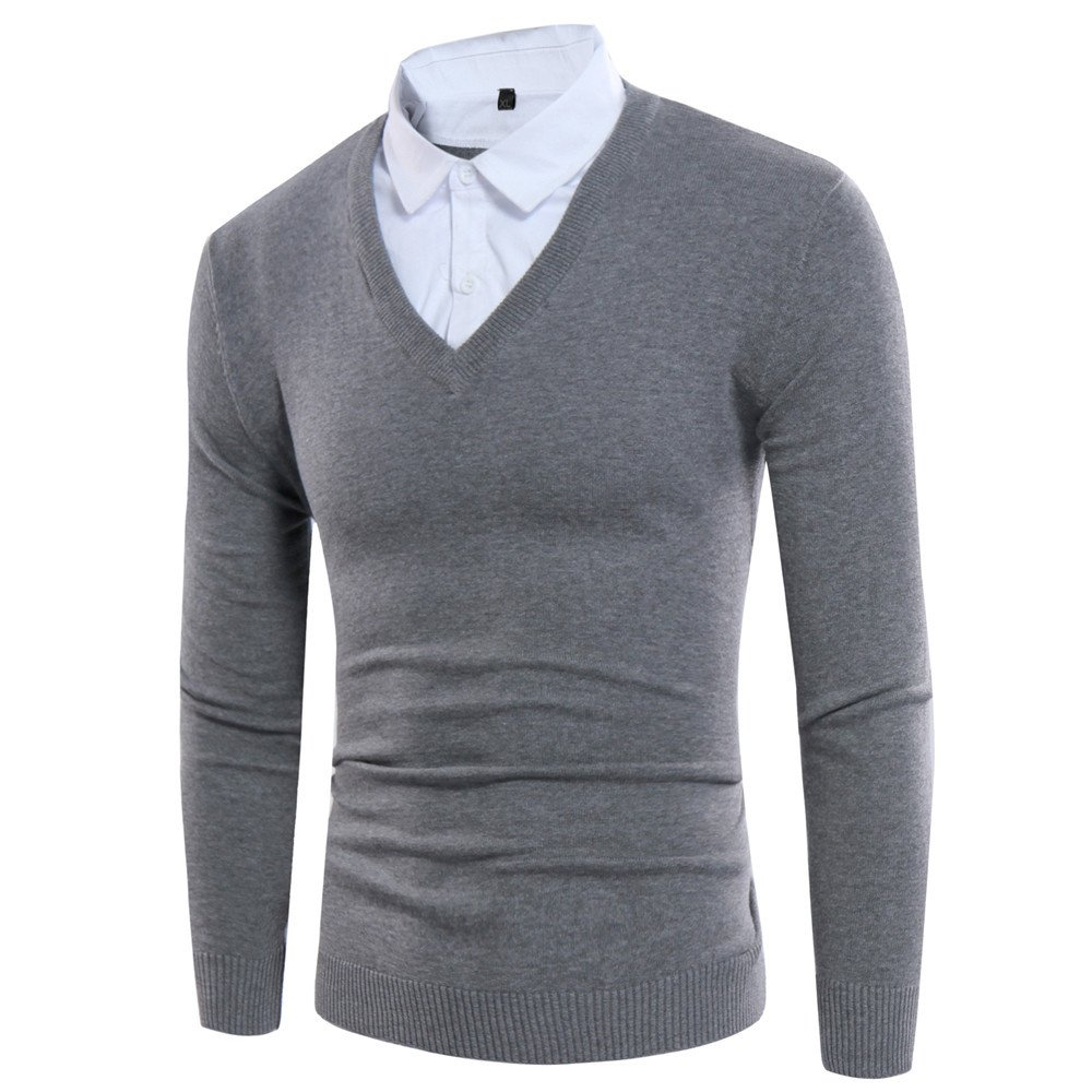 Gndfk aussagekräftige Kopf männer Pullover mit v - Pullover, alle typ lose typ alle v,Grau,XL d254c2