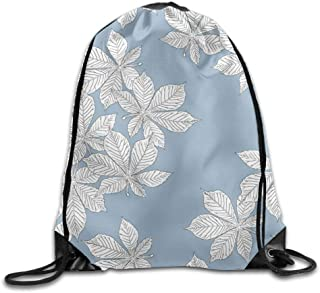 sd4r5y3hg White Leaf Blue Background Drawstring Backpack Rucksack Shoulder Bags Training Gym Sack for Man And Women