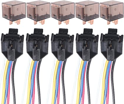 5 Pcs Automotive Car Relay 12V 80A AMP 5 Pin DC SPDT Car Starter Relays