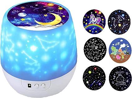 Proyector de estrellas de luz nocturna para niños, rotación de 360 ...