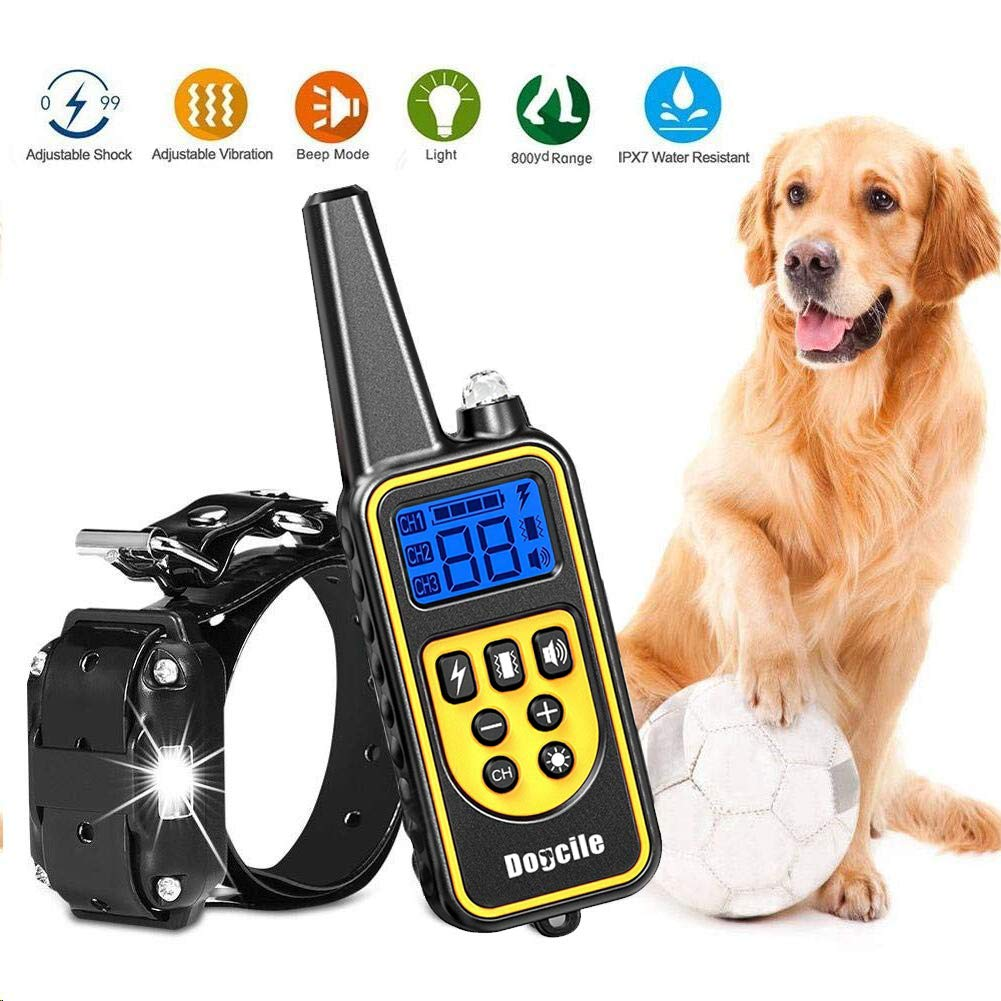YIDA TECH Dog Shock Collar with Remote 800 Yards, Shock Collar for Dogs Beep, Shock and Vibrate Modes, LCD Display IPX7 100% Waterproof Dog Training Collar
