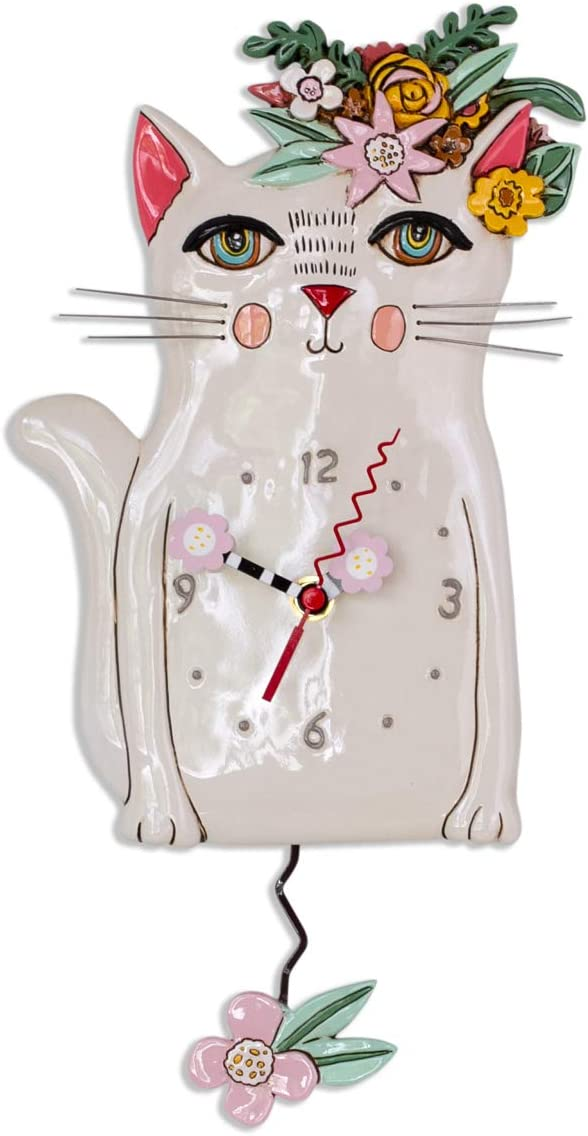 Allen Designs P1993 Swinging Pendulum Clock Pretty Kitty Cat Design 7.25 inches X 14.25 inches