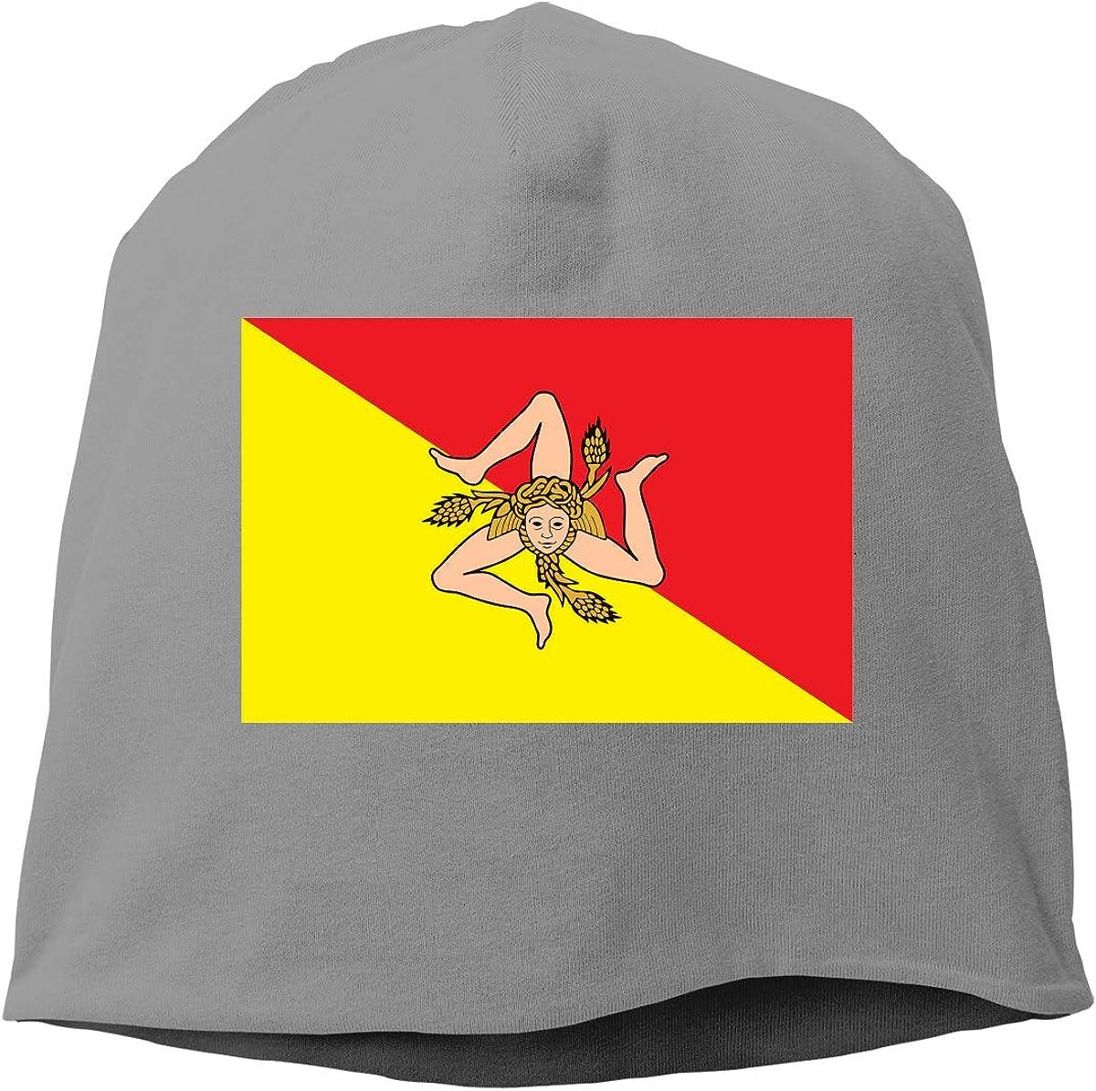 SHA45TM Sicilian Flag Men /& Women Winter Skull Cap Skiing Beanie Hat