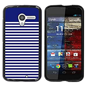 MOBMART Carcasa Funda Case Cover Armor Shell PARA Motorola Moto X 1 1st GEN I - Azure Striped Blue And White