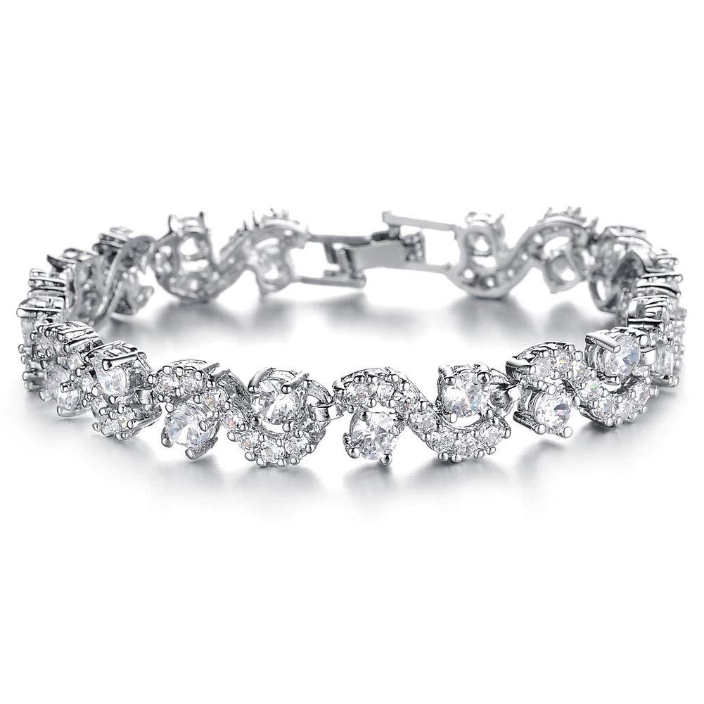 OPK Jewelry Platinum Plated Bling Rhinestone Cubic Zirconia Bracelet for Women Wedding Jewelry by OPK
