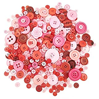 Esoca 650Pcs Red Craft Buttons Pink Red Buttons for Crafts Assorted Resin Buttons Lot of Red Buttons for Crafting, Art, DIY