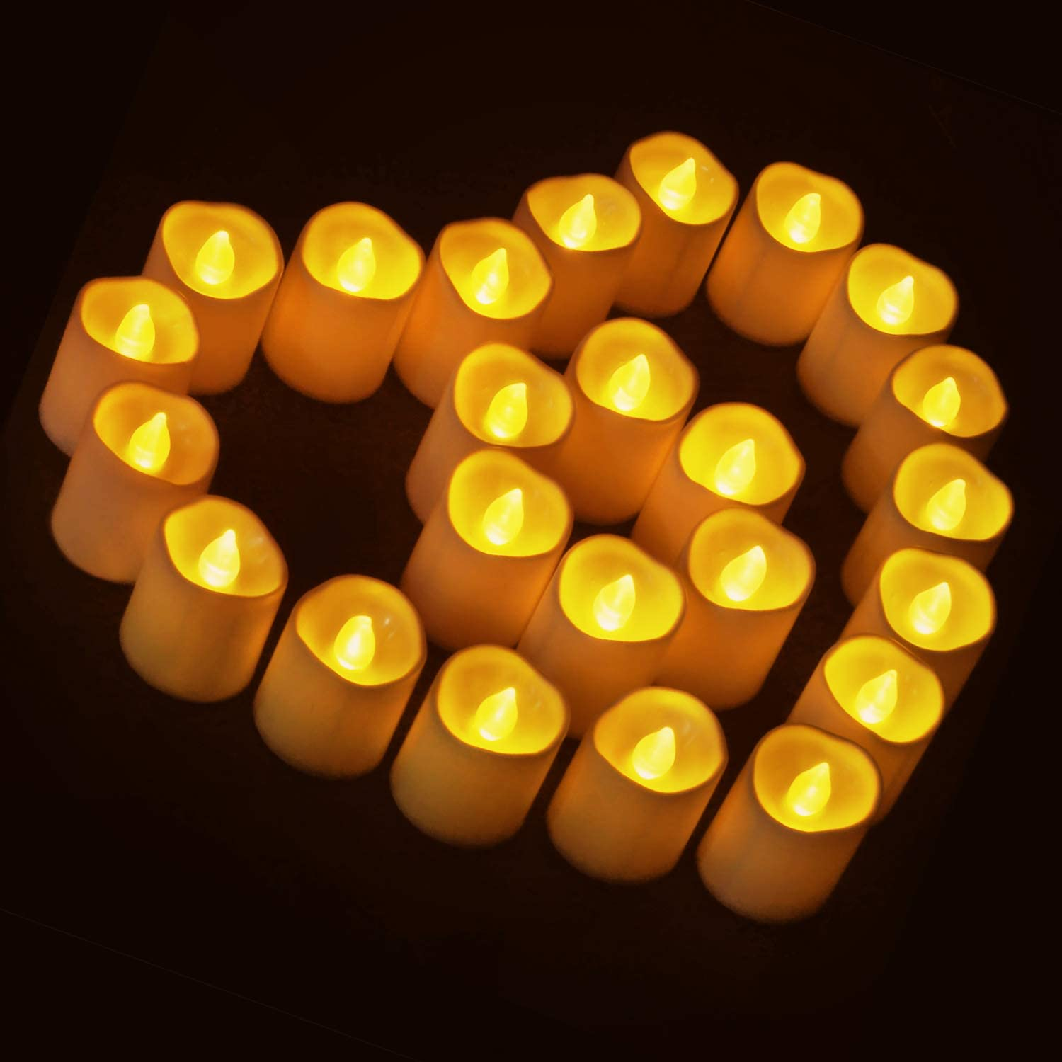 Novelty Place [Longest Lasting Battery Operated Flickering Flameless LED Votive Candles (Pack of 24)