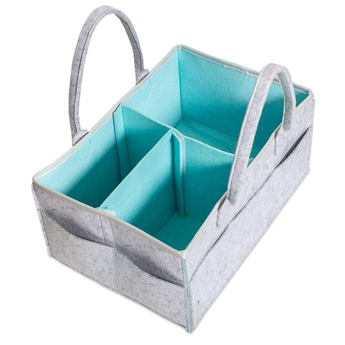 Baby Diaper Caddy Organizer   Baby Shower Gift Basket for Boys Girls   Felt Tote Bag   Nursery Storage Bin for Changing Tables   New Born Registry Must Haves   Portable Car Travel Organizer (Grey)