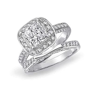 Amazon Com 925 Sterling Silver Princess Cut Engagement Wedding Ring