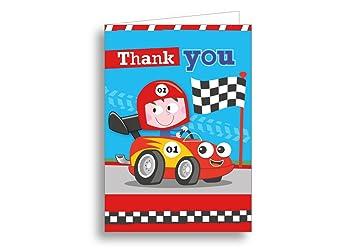Juego de tarjetas con Thank You Turbo para ropa de niños coche de carreras Azul , 12 unidades: Amazon.es: Hogar